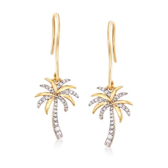 .15 ct. t.w. Diamond Palm Tree Drop Earrings in 14kt Yellow Gold, , default