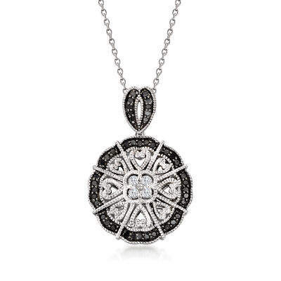.50 ct. t.w. White and Black Diamond Pendant Necklace in Sterling Silver