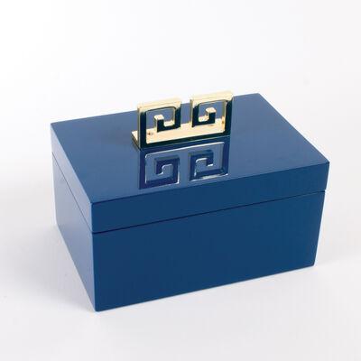 Blue Greek Key Lacquered Jewelry Box, , default