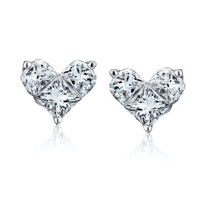 1.02 ct. t.w. Diamond Heart Earrings in 18kt White Gold, , default