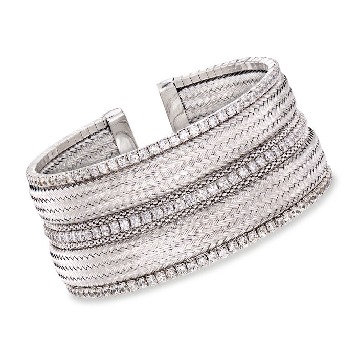 "Italian Swarovski Crystal and Sterling Silver Multi-Row Cuff Bracelet. 7.5"", , default"