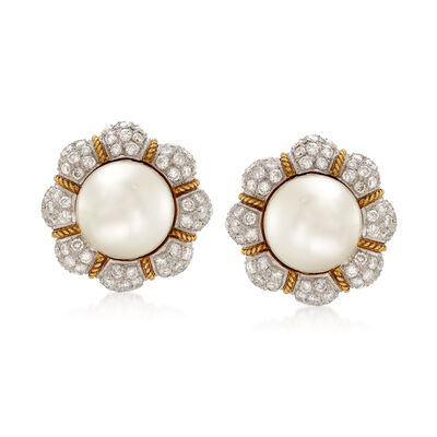C. 1980 Vintage 14mm Cultured South Sea Pearl and 6.00 ct. t.w. Diamond Flower Clip-On Earrings in 18kt Yellow Gold, , default