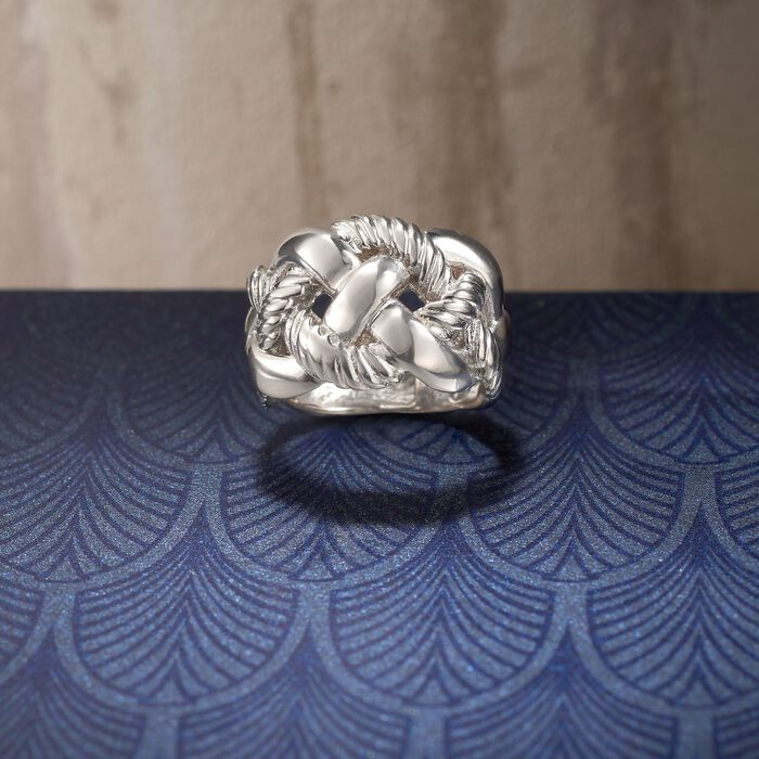 Italian Sterling Silver Wide Braided Ring