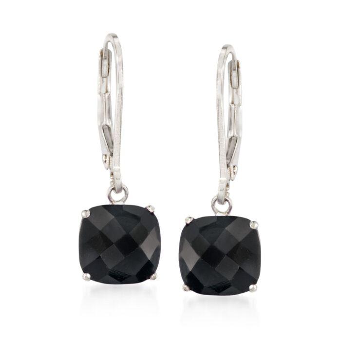Cushion-Cut Black Onyx Drop Earrings in Sterling Silver, , default