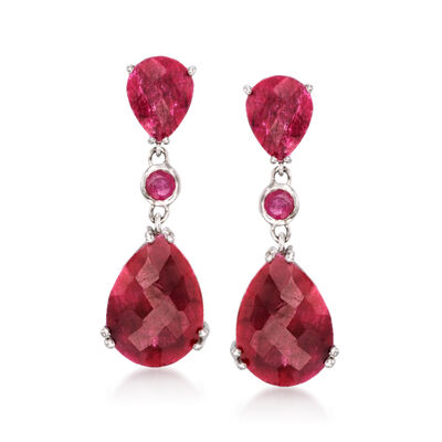 14.60 ct. t.w. Ruby Drop Earrings in Sterling Silver, , default
