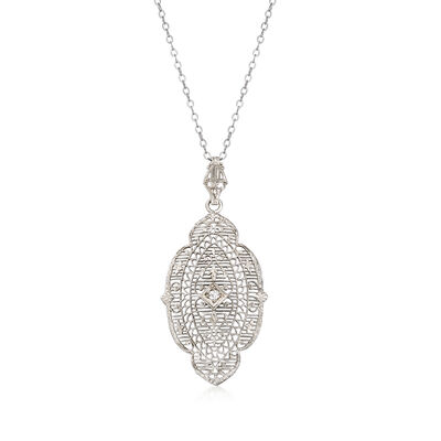 C. 1950 Vintage Diamond-Accented Filigree Pendant Necklace in Platinum and 14kt White Gold