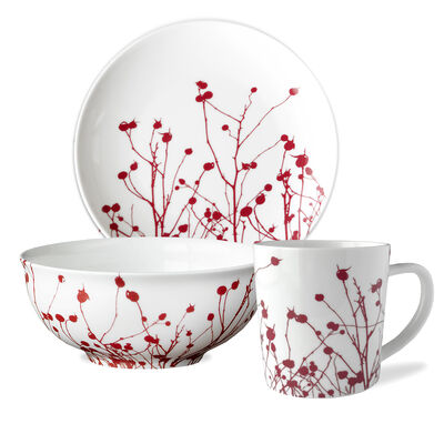 "Caskata ""Winter Berries"" Red and White Porcelain Dinnerware"