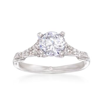 Gabriel Designs .17 ct. t.w. Diamond Engagement Ring Setting in 14kt White Gold, , default