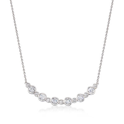 1.50 ct. t.w. Bezel-Set CZ Curved Bar Necklace in Sterling Silver, , default
