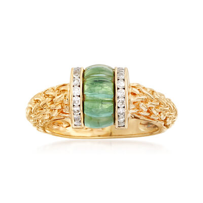 C. 1990 Vintage Green Tourmaline and .25 ct. t.w. Diamond Rope Ring in 14kt Yellow Gold, , default