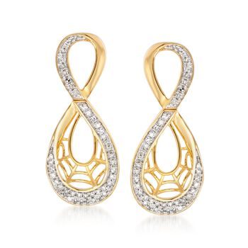 .50 ct. t.w. Diamond Figure-Eight Spider Web Earrings in 14kt Two-Tone Gold, , default