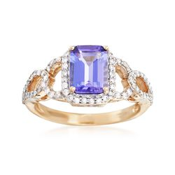 1.40 Carat Tanzanite and .40 ct. t.w. Diamond Ring in 14kt Yellow Gold, , default