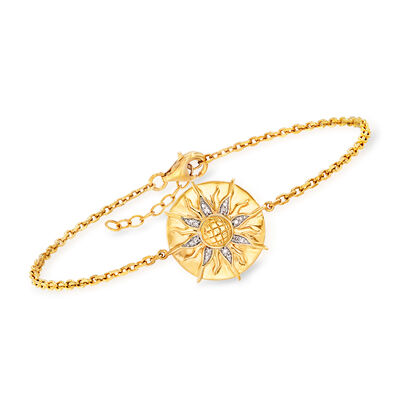 Diamond-Accented Sun Bracelet in 18kt Gold Over Sterling