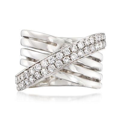 1.35 ct. t.w. Diamond Crisscross Ring in 14kt White Gold, , default