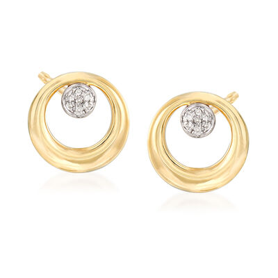 14kt Yellow Gold Open-Circle Earrings with Diamond Accents