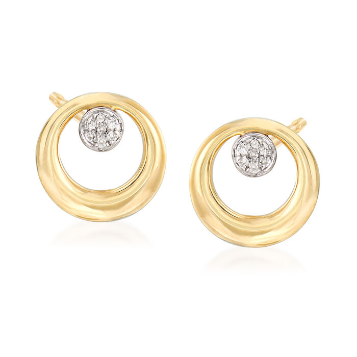 14kt Yellow Gold Open-Circle Earrings with Diamond Accents, , default