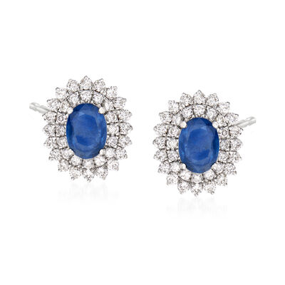 1.80 ct. t.w. Sapphire and .90 ct. t.w. Diamond Earrings in 18kt White Gold, , default