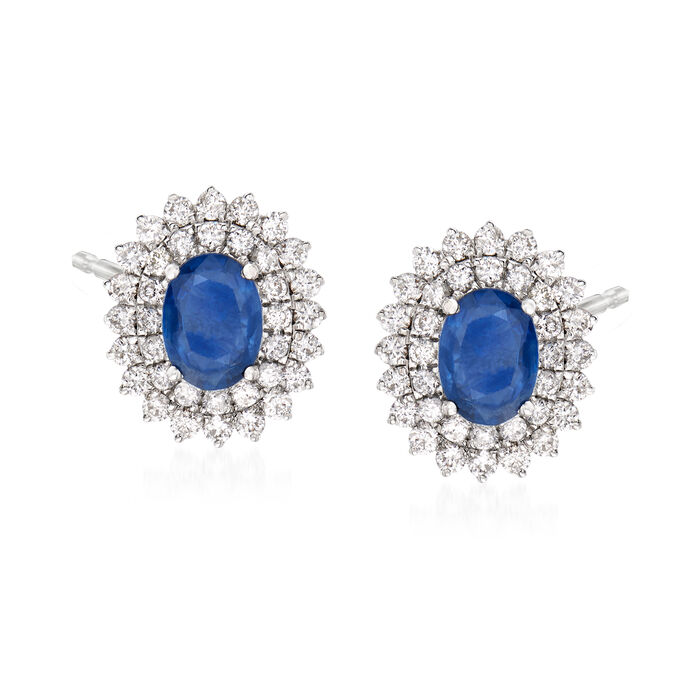 1.80 ct. t.w. Sapphire and .90 ct. t.w. Diamond Earrings in 18kt White Gold