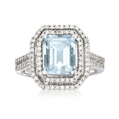 2.30 Carat Aquamarine and .52 ct. t.w. Diamond Ring in 18kt White Gold