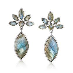 Labradorite Drop Earrings in Sterling Silver, , default