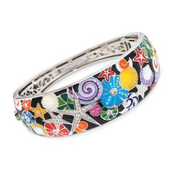 "Belle Etoile ""Starfish"" Black and Multicolored Enamel Bangle Bracelet With CZs in Sterling Silver. 7"", , default"