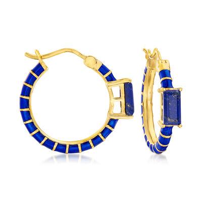 Lapis and Dark Blue Enamel Hoop Earrings in 18kt Gold Over Sterling