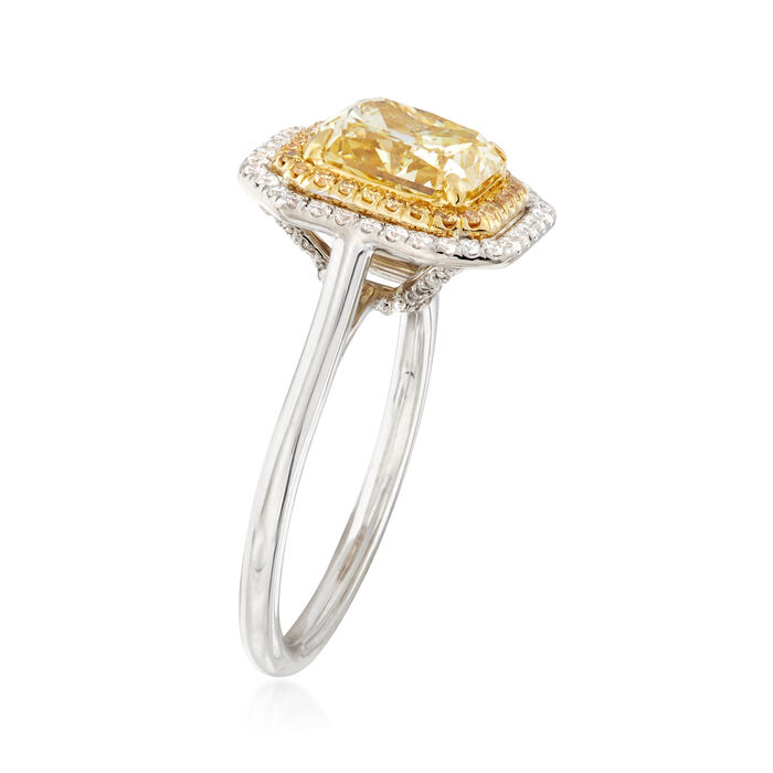 Majestic Collection 3.20 ct. t.w. Yellow and White Diamond Ring in 18kt Two-Tone Gold