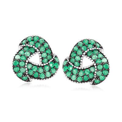 1.60 ct. t.w. Emerald Open-Knot Earrings in Sterling Silver