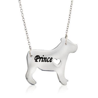 Sterling Silver English Bulldog Dog Name Necklace, , default