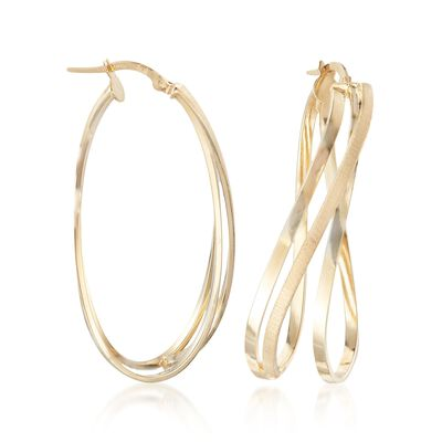 Italian 14kt Yellow Gold Twist Hoop Earrings, , default