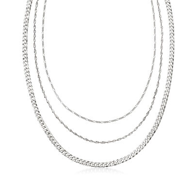 Italian Sterling Silver Multi-Link Layered Necklace