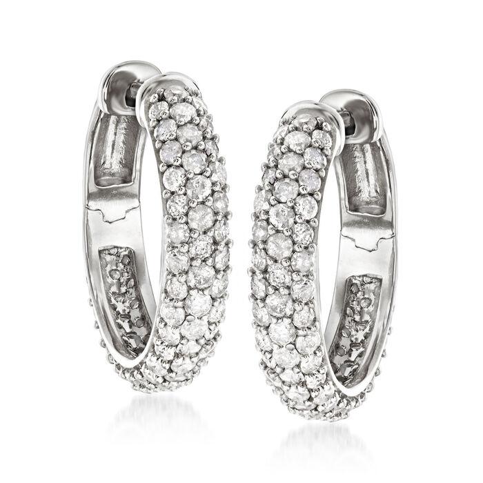 3.00 ct. t.w. Diamond Hoop Earrings in Sterling Silver