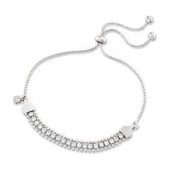 Italian 1.00 ct. t.w. CZ and Clover Chain Bolo Bracelet in Sterling Silver, , default