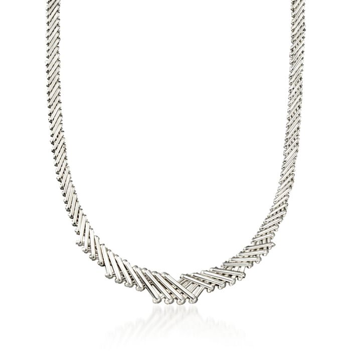 Sterling Silver Crisscross Bar Necklace, , default