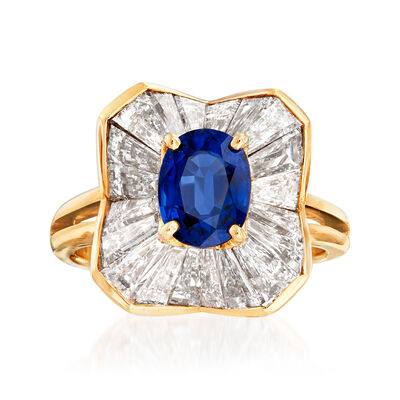 C. 1980 Vintage Oscar Heyman 2.50 ct. t.w.  Diamond and 1.45 Carat Sapphire Cocktail Ring in 18kt Yellow Gold, , default