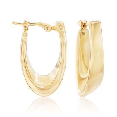 14kt Yellow Gold Oval Hoop Earrings, , default