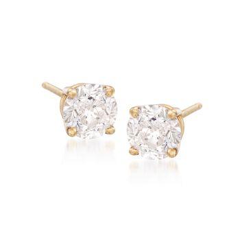 2.00 ct. t.w. CZ Stud Earrings in 18kt Yellow Gold, , default