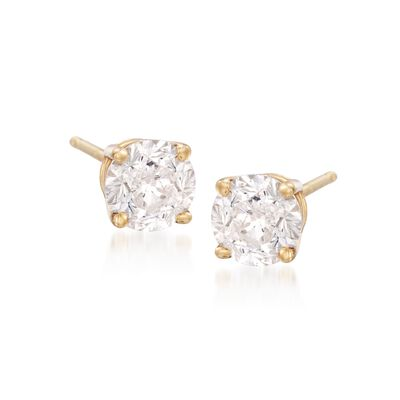 2.00 ct. t.w. CZ Stud Earrings in 18kt Yellow Gold, , default