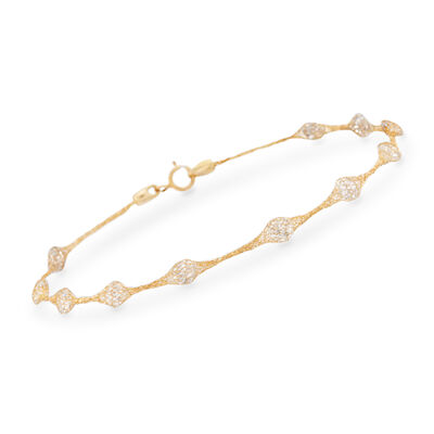2.75 ct. t.w. CZ Mesh Station Bracelet in 14kt Yellow Gold, , default