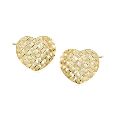 Italian 14kt Yellow Gold Heart Stud Earrings