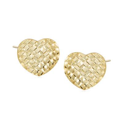 Italian 14kt Yellow Gold Heart Stud Earrings, , default