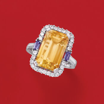 7.00 Carat Citrine, .70 ct. t.w. White Zircon and .10 ct. t.w. Iolite Ring in Sterling Silver