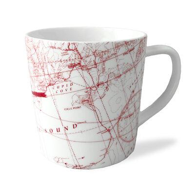 """Caskata """"North Pole Holiday Hunt"""" Red and White Porcelain Mug, , default"""