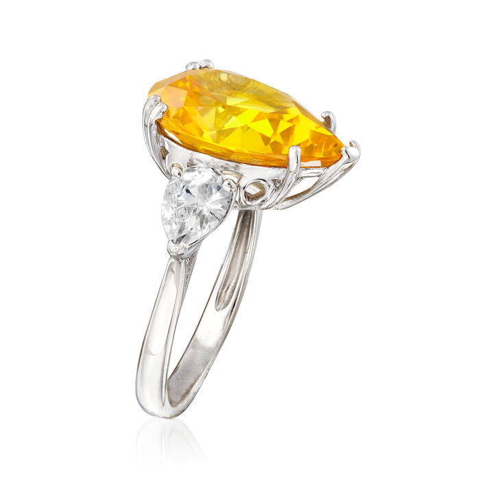10.50 ct. t.w. Pear-Shaped Canary and White CZ Ring in Sterling Silver
