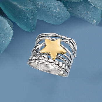 Two-Tone Star Ring in Sterling Silver with 14kt Yellow Gold
