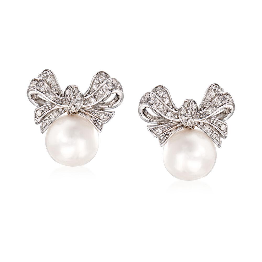 Bow Pearl Earrings Toddler Bow Pearl Earrings Gold Back