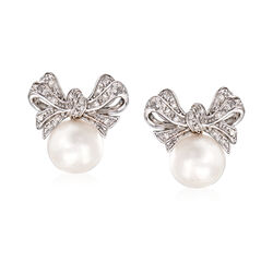 Cultured Pearl and .10 ct. t.w. Diamond Bow Earrings in Sterling Silver, , default