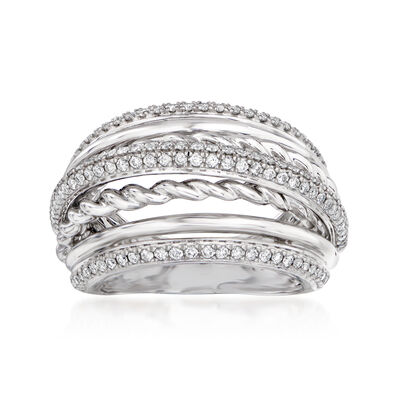 .75 ct. t.w. Pave Diamond Bridge Ring in 14kt White Gold