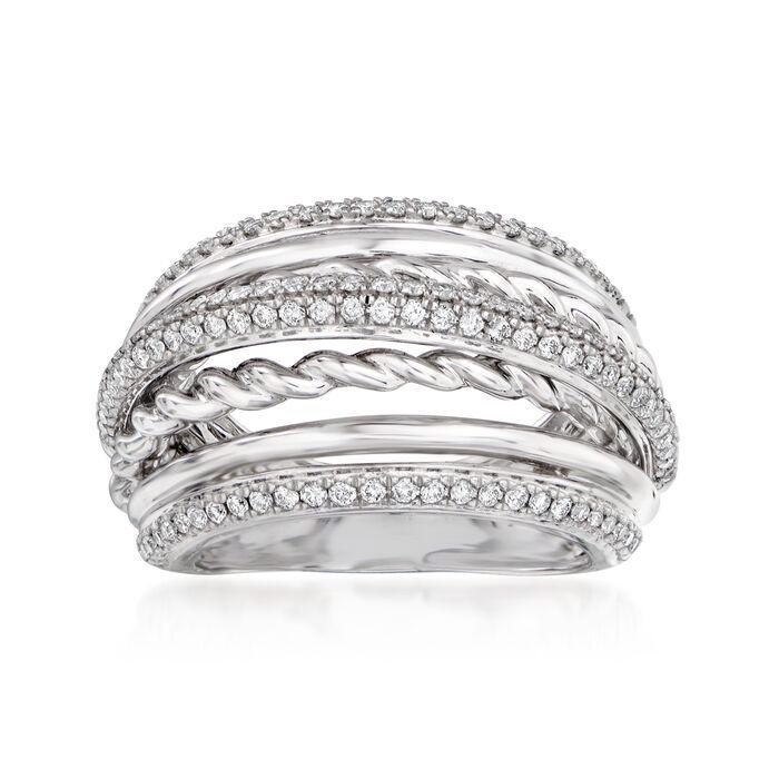 .75 ct. t.w. Pave Diamond Bridge Ring in 14kt White Gold