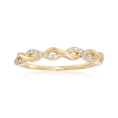 .12 ct. t.w. Diamond Twist Ring in 14kt Yellow Gold, , default